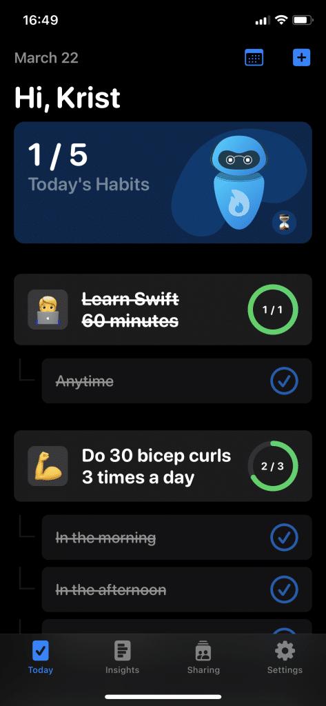 Benji Habits Tracker screenshot showing the daily habits scheduke