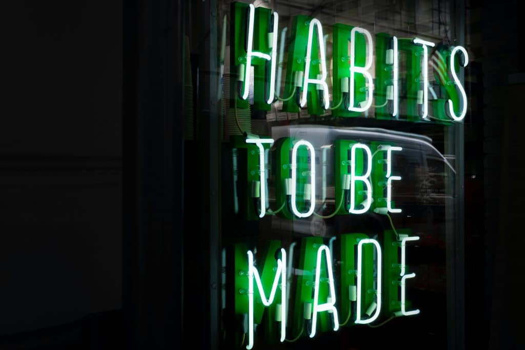 """""""Habits to be made"""" as a neon sign"""